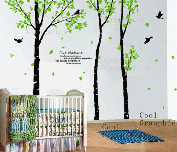 Wall Decals Trees 3 Birch Trees Wall Decal Birds Birdcage Etsy