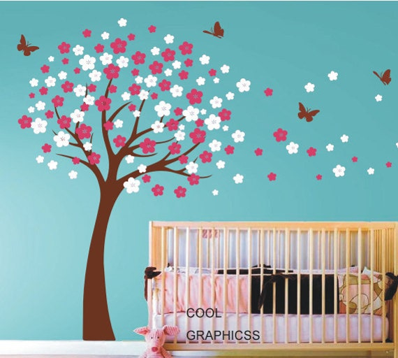 wall decals cherry blossom tree wall decals nursery wall | etsy