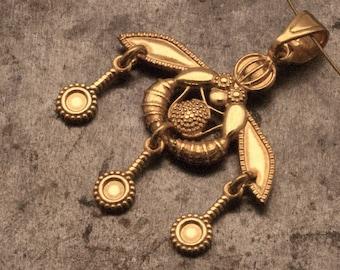 Greek Gold Necklace,Crete Bees Pendant Ancient Minoan Cretan Necklace, Sterling 24k Gold Plated, Museum Replica, Wearable Art, Greek Jewelry