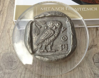 Greek Coin Paperweight, Aluminium Paperweight, Goddess Athena Owl Symbol, Museum Replica, Greek Mythology, Ancient Greek Coin Paperweight