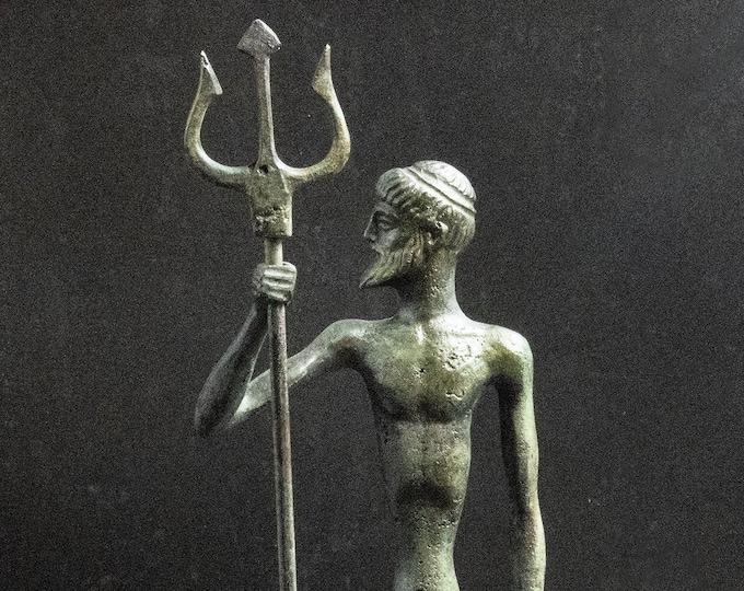 Featured listing image: Greek Olympian God of Sea Poseidon Statue with Trident, Bronze Sculpture, Metal Art Sculpture, Museum-Quality Art, Greek Mythology, Neptune