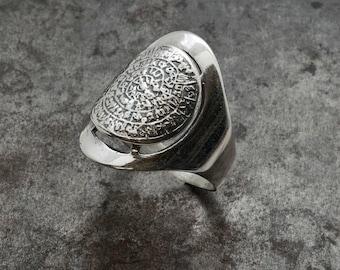 Chevalier Greek Phaistos Disc Ring, Silver Big Unisex Ring, Ancient Minoan Cretan Ring, Men Statement Ring, Greek Mystery, Wearable Art