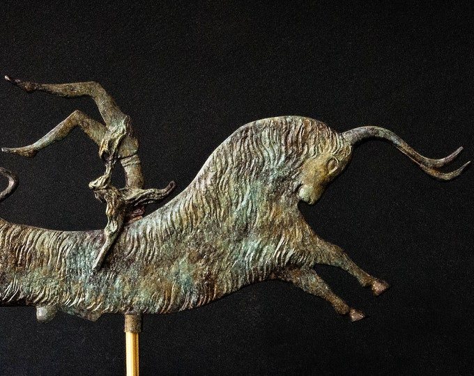 Featured listing image: Greek Minoan Sculpture, Bull in Leap, Metal Art Sculpture, Bronze Sculpture, Museum Quality Art, Greek Art, Ancient Greece, Crete