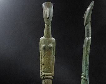Greek Cycladic Figurine Bronze Statue, Metal Art Sculpture, Minimalist Cycladic Art, Ancient Greece Abstract Sculpture, Home Decor