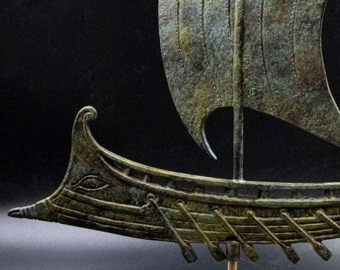 Featured listing image: Ancient Greece Bronze Ship with Oars and Sail, Metal Warship Statue, Greek Ancient Vessel Art Sculpture, Marine Art Decor