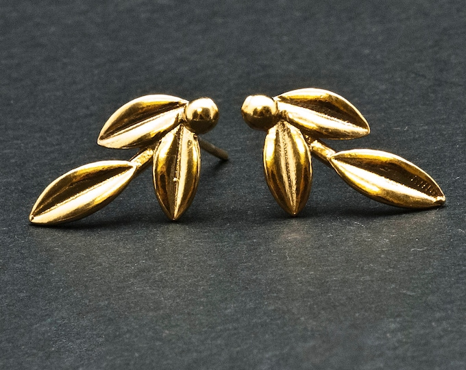 Featured listing image: Gold Olive Leaves Small Stud Earrings, Greek Goddess Athena Jewelry