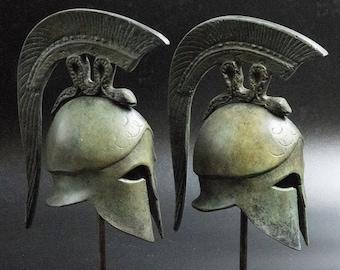 Ancient Greek Spartan Bronze Helmet with Spiraling Serpent Crest, Museum Replica Metal Sculpture, Ancient Greece Military Helmet