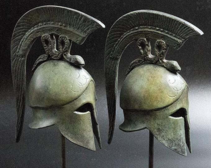 Featured listing image: Ancient Greek Spartan Bronze Helmet with Spiraling Serpent Crest, Museum Replica Metal Sculpture, Ancient Greece Military Helmet