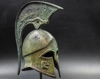 Ancient Greek Corinthian Bronze Helmet with Serpent Crest, Museum Replica Sculpture, Ancient Greece Military Helmet