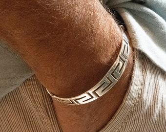Greek Key Sterling Silver Bangle Bracelet, Men and Women Band Bracelet, Unisex Greek Key Jewelry Gift, Greek Jewelry
