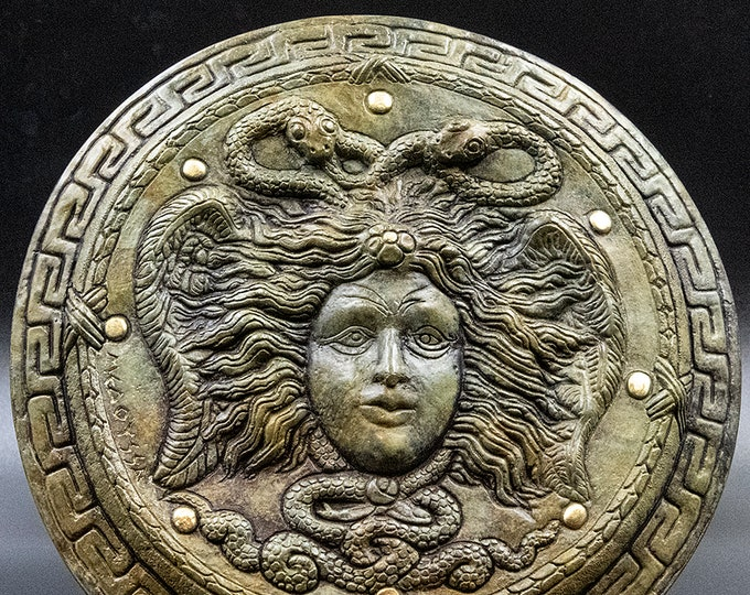 Featured listing image: Ancient Greek Medusa Relief Sculpture Plaque, Head of Gorgon Medusa, Decorative Wall Relief Greek Art, Greek Mythology, Medusa and Snakes