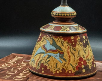 Greek Minoan Terracotta Box, Container with Lid and Hand-painted Dolphins Decoration, Ancient Greek Pyxis Pottery Museum Replica, Greek Art
