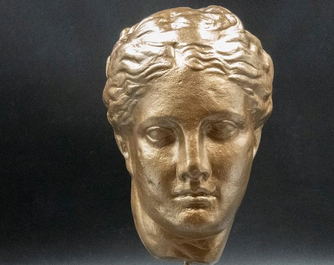 Featured listing image: Greek Goddess of Good Health Gold Statue, Goddess Hygeia Head, Greek Mythology, Ancient Greece Art Museum Replica, Pop Art, Greek Decor