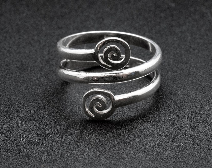 Featured listing image: Greek Sterling Silver Spiral Ring, Handmade Twist Grecian Ring, Men/Women Greek Jewelry, Symbolic Infinity Statement Ring, Ancient Greece