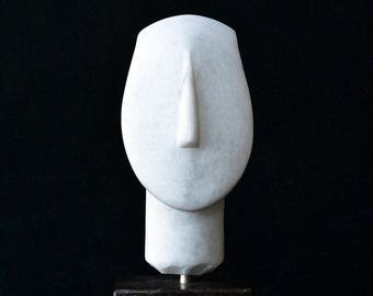 Small White Marble Sculpture, Abstract Cycladic Figurine Head, Minimalist Sculpture, Ancient Greece, Museum Replica, Greek Art Gift