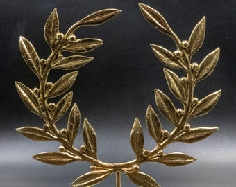 Golden Bronze Olive Wreath on Base, Metal Art Wreath, Greek Olympic Games Winner Prize, Kotinos Wreath, Ancient Greece