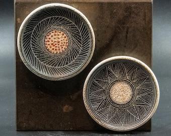 Terracotta Greek Magnets Set 2, Geometric Style Hand Painted Ceramic Refrigerator or Board Decorative Magnets, Greek Art
