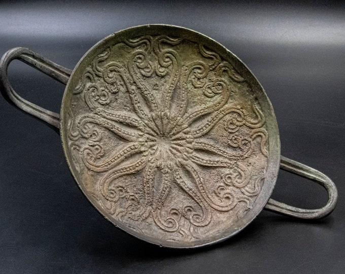 Featured listing image: Greek Bronze Vessel Kylix, Ancient Minoan Drinking Vessel Museum Replica Metal Sculpture, Decorative Bowl, Collectible Art, Home Decor