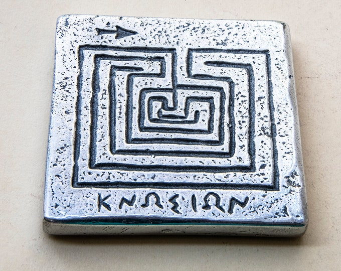 Featured listing image: Crete Greece Coin Paperweight, Labyrinth/Maze Minoan Symbol, Knossos Crete Tetradrachm Coin Ancient Greek Paperweight, Museum Replica
