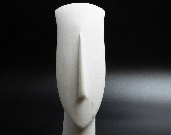 Featured listing image: White Marble Sculpture, Abstract Cycladic Figurine Head Handsculpted, Minimalist Sculpture, Ancient Greece, Museum Replica, Greek Art Gift