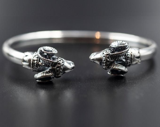 Featured listing image: Ram Head Cuff Bracelet, Men/Women Sterling Silver Greek Bangle, Unisex Statement Bracelet, Men's Jewelry, Aries Gift Bracelet, Greek Jewelry