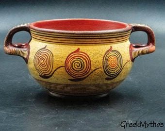 Minoan Two-Handled Terracotta Bowl with Spiral Decoration, Ancient Greek  Skyphos Drinking Vessel Museum Replica, Home Art Decor