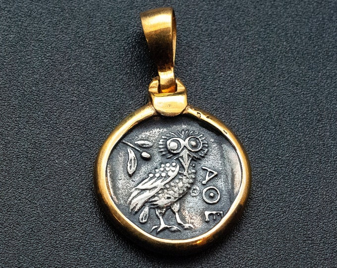 Featured listing image: Ancient Greek Coin Necklace with Owl Goddess Athena Symbol, Mens Coin Pendant, Statement Necklace, Mens Coin Jewelry Gift, Greek Jewelry