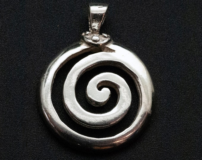 Featured listing image: Greek Sterling Silver Spiral Large Necklace, Men/Women Infinity Symbolic Pendant, Mens Greek Jewelry, Ancient Greece Statement Necklace