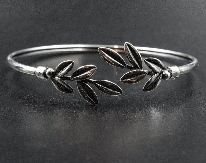 Featured listing image: Sterling Silver Olive Leaves Bracelet, Twisted Olive Twig Cuff Bracelet, Handmade Delicate Bracelet, Goddess Athena Symbol Greek Jewelry