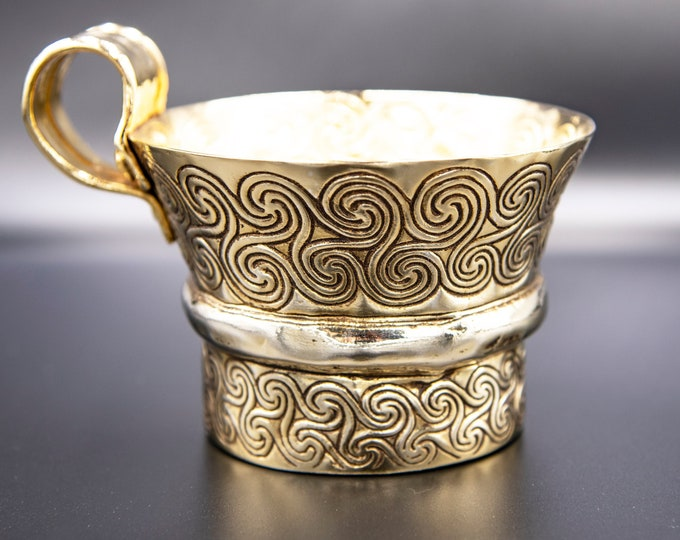 Featured listing image: Gold Cup Ancient Greek Mycenaean Artifact, Copper Gold Plated Cup with Endless spiral Decoration, Museum Replica, Greek Art, Home Decor