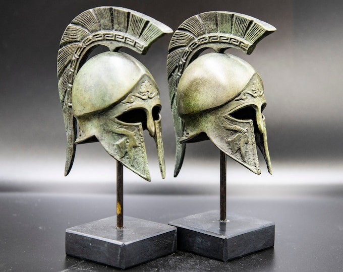 Featured listing image: Bronze Greek Helmet, Greek Key Crest Helmet, Ancient Corinthian War Helmet, Museum Replica Art  Metal Sculpture, Office Decor, Gift for Him