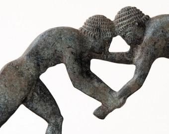 Wrestling Sculpture, Bronze Greek Athletes Statue, Ancient Greece Olympic Games, Wrestlers, Metal Sculpture, Art Decor, Museum Replica