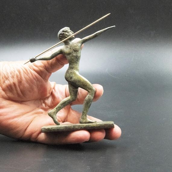Javelin Athlete Bronze Handmade Replica Statue 15cm Ancient Olympic Games