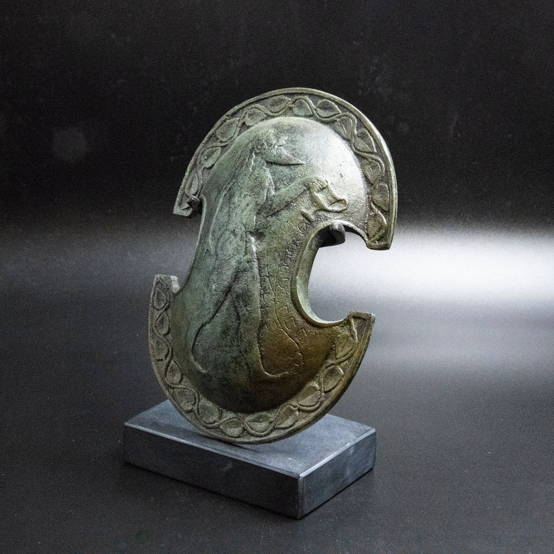 Ancient Greek Bronze Shield with Satyr and Vine Leaves Symbol of God of Wine Dionysos Museum Replica Metal Art Sculpture