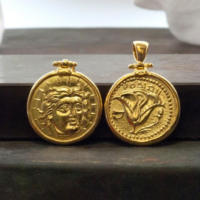 Gold Coin Men Necklace Ancient Greek Rhodes Pendant God