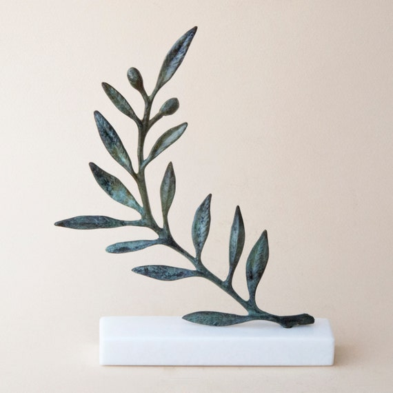 Olive Branch Bronze Sculpture Metal Art Greek Museum Quality Etsy
