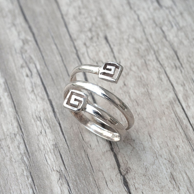 660428111 Greek Sterling Silver Twist Ring Greek Key Ring Handmade | Etsy