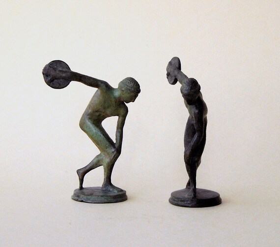 Discus Thrower Athlete Small Bronze Statue Discobolus Olympic Games