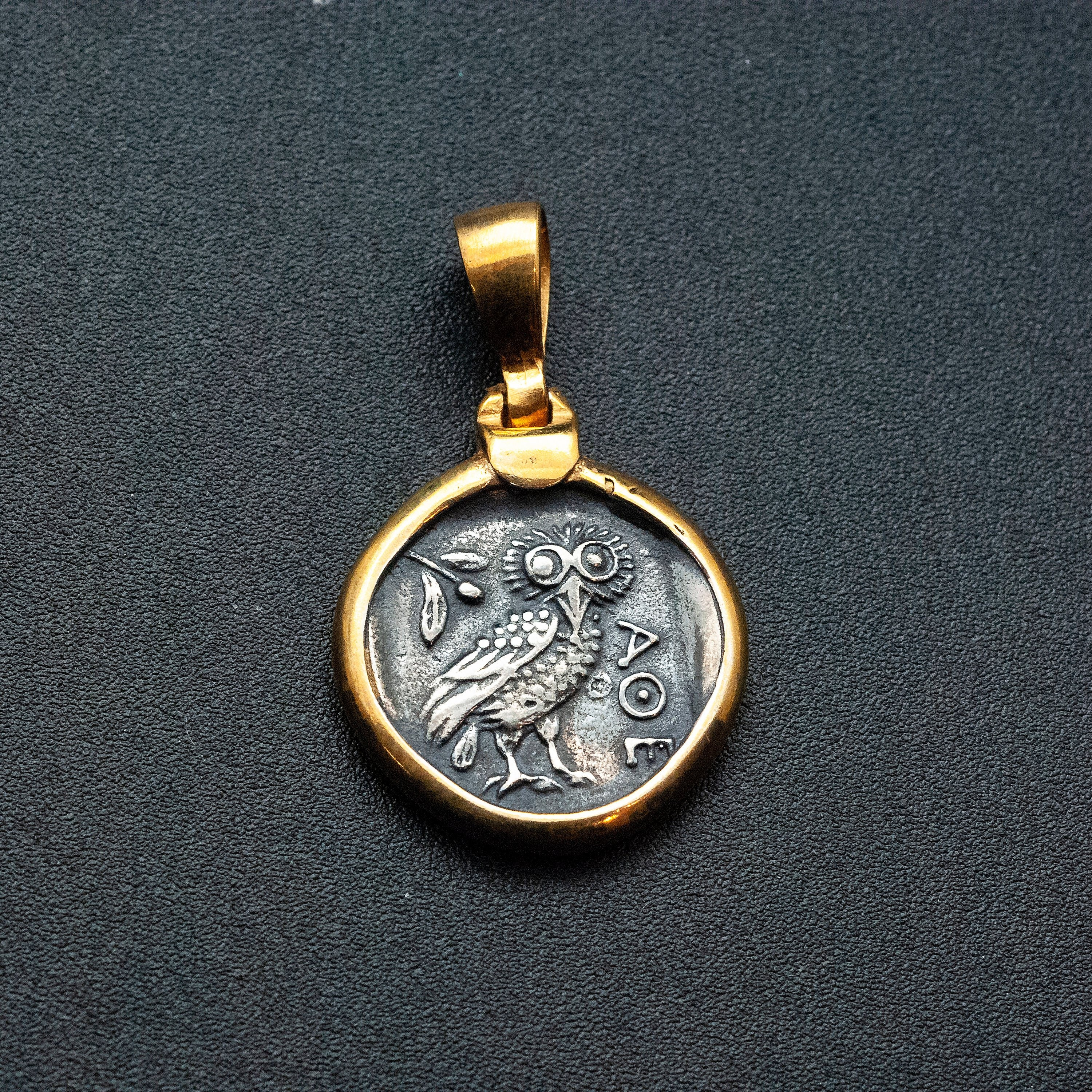 Ancient Greek Coin Necklace With Owl Goddess Athena