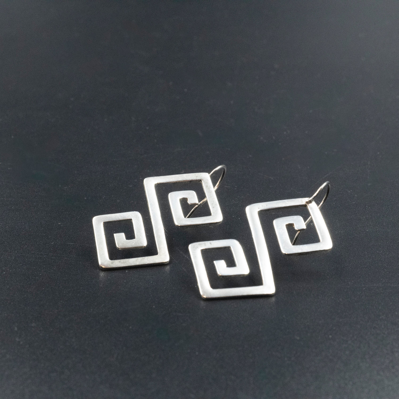 Greek Sterling Silver Earrings, Greek Key Earrings, Grecian