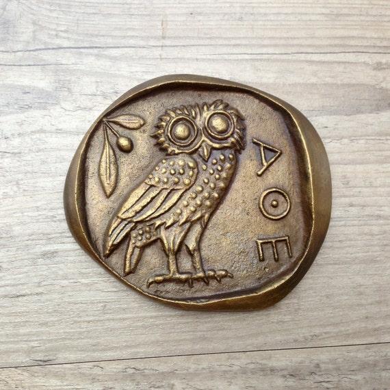 Bronze Paperweight Greek Owlgoddess Athena Symbol Museum Etsy