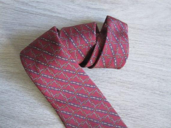 Celine Paris Vintage Burgundy Silk Tie – 1970s