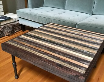 Industrial, Modern, Gray And Black Striped Reclaimed Barnwood Coffee Table  With Steel Pipe Legs