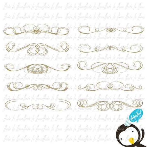 Items similar to Elegant Border Clip art (Gold) on Etsy