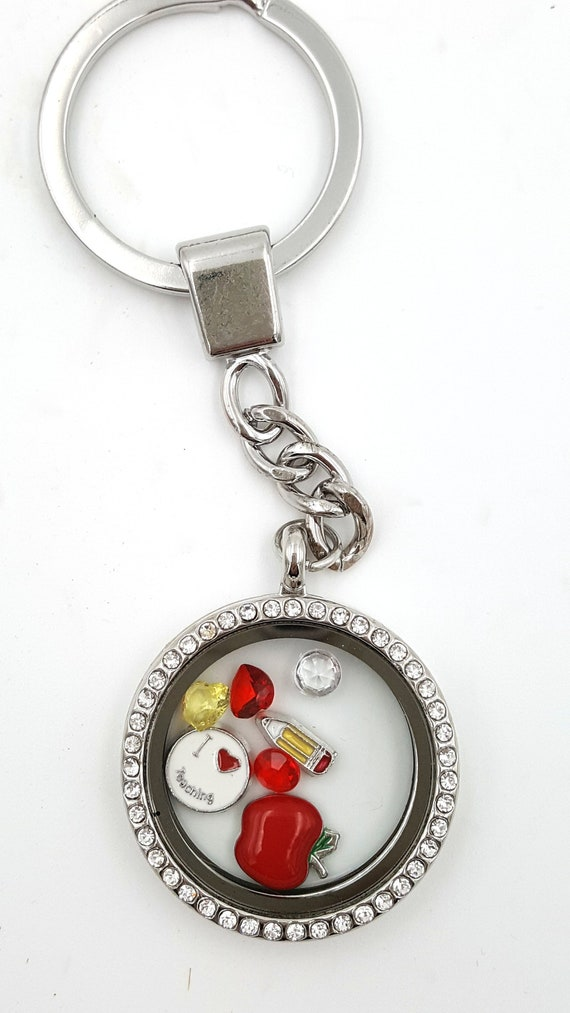 Happy Camper CampingTheme Floating Charms Magnetic Stainless Steel Locket Style Pendant Necklace