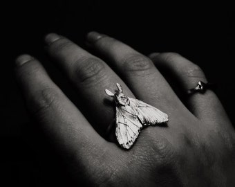 Dark Black Moth Butterfly silver ring by Tales of O.