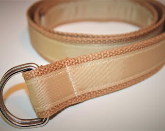 Khaki Ribbon Belt Tan D Ring Belt Monogram or Name 1.25