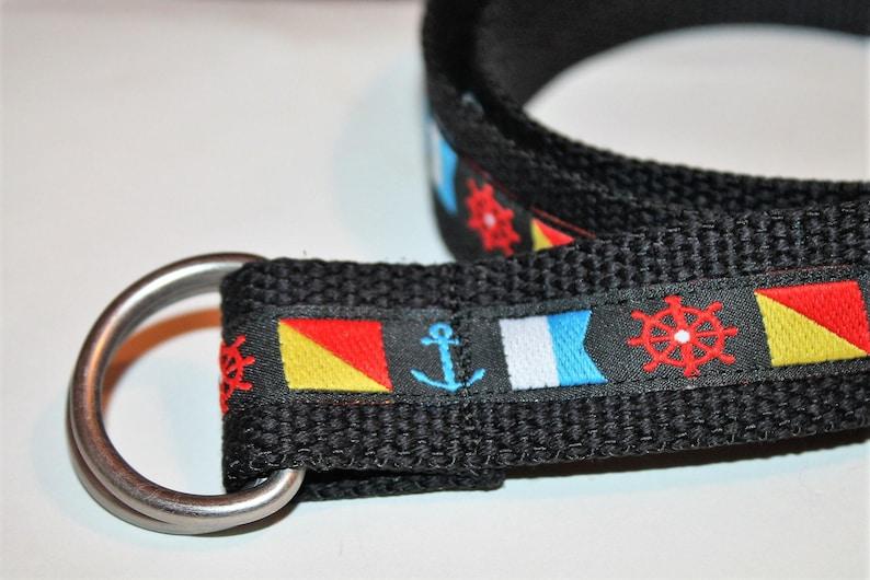 Nautical Flag Belt D Ring Belt 1.25 wide Men and Women/'s sailing belt Men/'s Yacht Club Belt Boating Flags Belt Black Belt