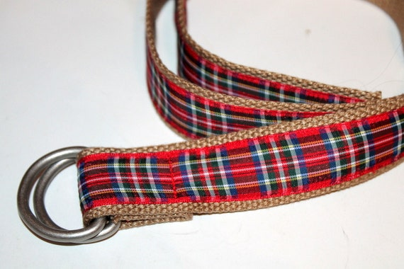 Plaid Belt Tartan Belt Ladies Mens Plaid Belt D ring 1.25