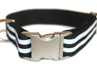 Black and White Dog Collars BLack Stripe Dog Collar and Leash Large Dog Collar Boy Black Dog Collar and Leash Set Winter Dog Collar to fit a